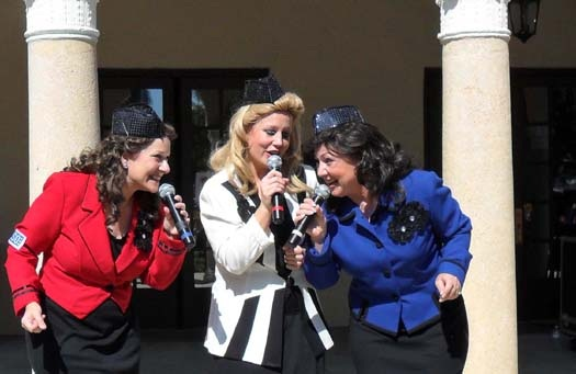 Closeup of the Andrew Sisters performing at the 2011 USO Show