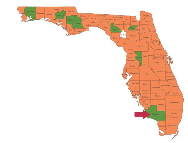 Crime Rate Map of Florida By County